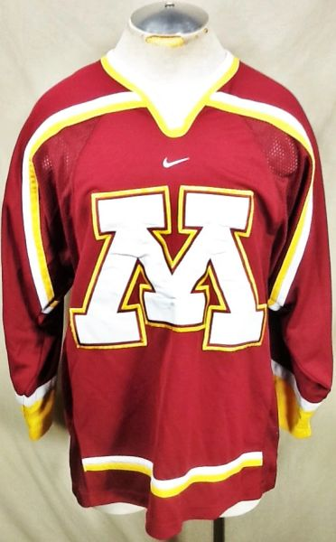 Vintage Nike Minnesota Gophers Hockey (Med) Retro NCAA Graphic Knit Maroon Jersey