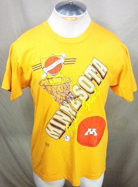Vintage 90's Minnesota Gophers Basketball (Large) Retro NCAA Apparel Graphic Yellow T-Shirt