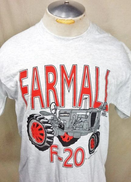 Vintage 1992 Farmall F-20 Tractor (Med) Retro Classic Farming Implements Graphic T-Shirt Gray