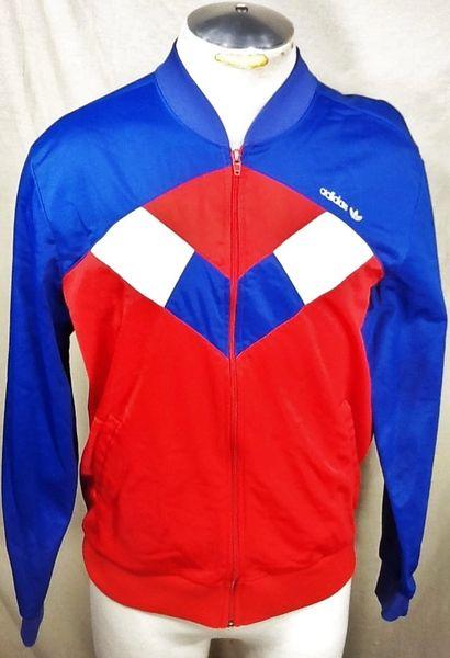 Vintage 80's Adidas Trefoil (Medium) Retro Hip-Hop Streetwear Zip Up Track Jacket