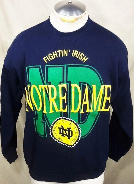 Vintage 90's Notre Dame Fightin' Irish (Med/Large) Retro NCAA Crew Neck Graphic Sweatshirt