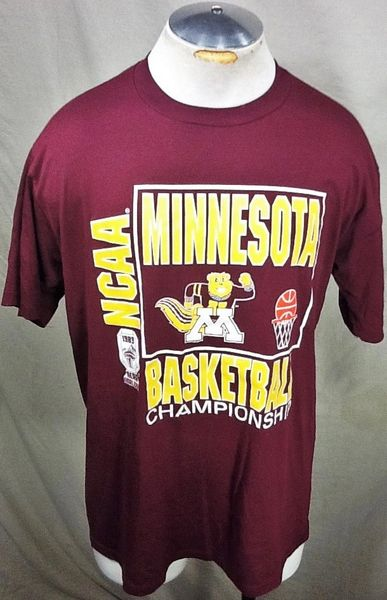 "Vintage 1989 Minnesota Gophers Basketball (L/XL) Retro NCAA ""Final Four"" Graphic Maroon T-Shirt"