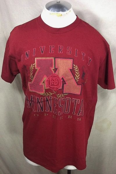 Vintage 90's University of Minnesota Gophers (XL) Retro NCAA Apparel Graphic Maroon T-Shirt