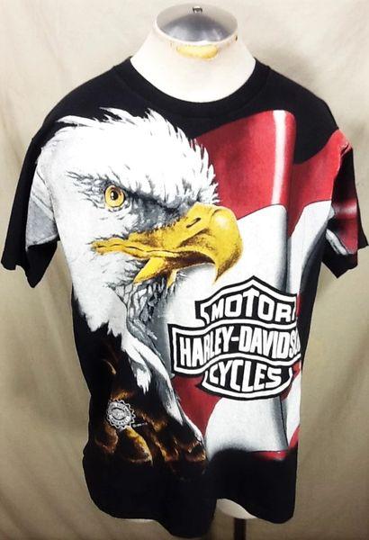 "Vintage 1996 Harley Davidson Motorcycles (XL) Retro ""Eagle"" Graphic T-Shirt"