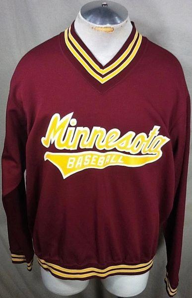 Vintage 1980's Minnesota Gophers Baseball (2XL) Retro NCAA V-Neck Pullover Sweatshirt Maroon