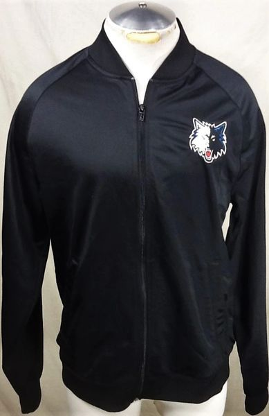 Retro Minnesota Timberwolves Basketball (Med/Large) NBA Wolves Zip Up Track Jacket Black
