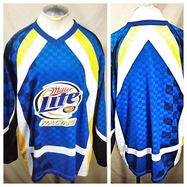 """Vintage Miller Lite Racing """"Rusty Wallace"""" (XL) Retro Pullover Hockey Style Jersey"""
