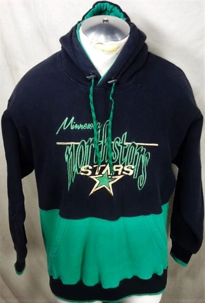Vintage 90's The Game Minnesota North Stars (Med) Retro NHL Hockey Hooded Sweatshirt