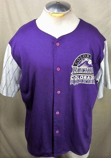 Vintage 1992 Colorado Rockies Baseball Club (XL) Retro MLB Button Up Purple Jersey