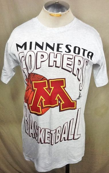Vintage 90's Minnesota Gophers Basketball (Med) Retro NCAA Classic Logo Graphic Gray T-Shirt