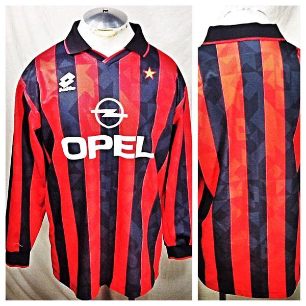 Lotto Milan Futbol Club (L/XL) Retro Graphic Long Sleeve Polo Style Soccer Jersey