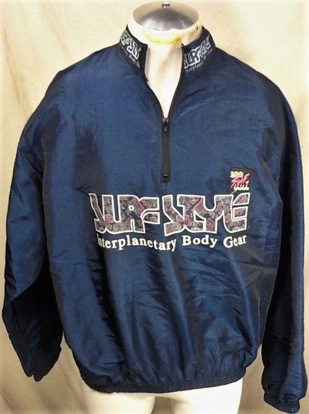 "Vintage 90's Surf Style ""Interplanetary Body Gear"" (XL) Retro Pullover 1/2 Zip Windbreaker Jacket"