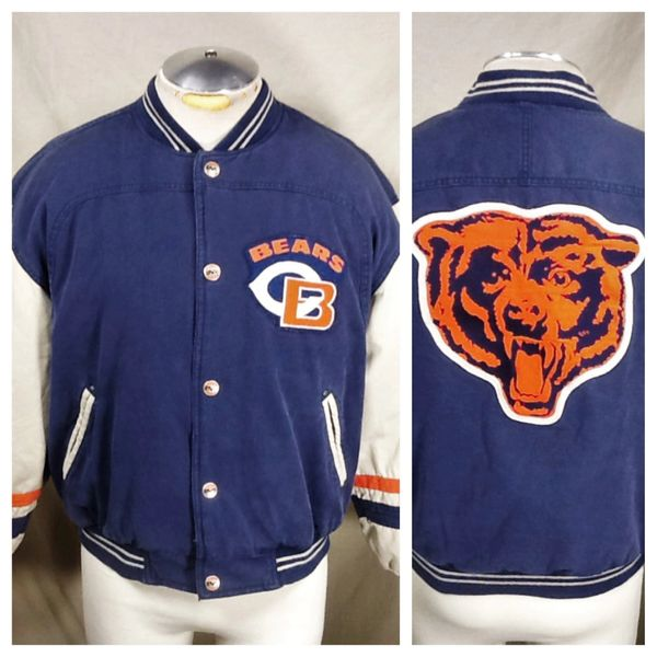 Vintage 90's Mirage Chicago Bears Football (Med) Retro NFL Snap Up Puffy Winter Jacket