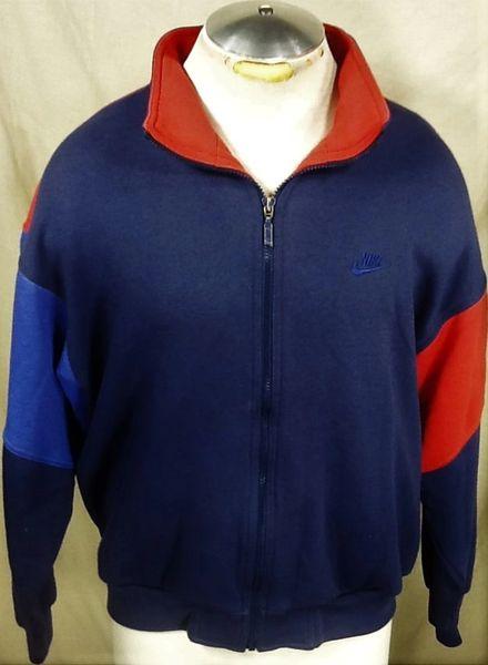 Vintage 90's Nike Swoosh Full Zip (L/XL) Retro Athletic Long Sleeve Workout Sweatshirt