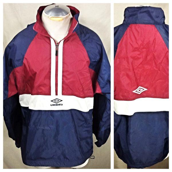 Vintage Umbro Soccer Athletic Wear (L/XL) Retro Pullover Zip Up Futbol Windbreaker Jacket