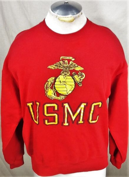 Vintage United States Marine Corps (Large) Armed Forces Graphic Crew Neck Sweatshirt