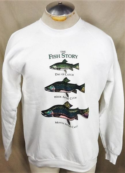 "Vintage 90's Fishing ""The Fish Story"" (Large) Retro Outdoorsman Graphic Crew Neck Sweatshirt"
