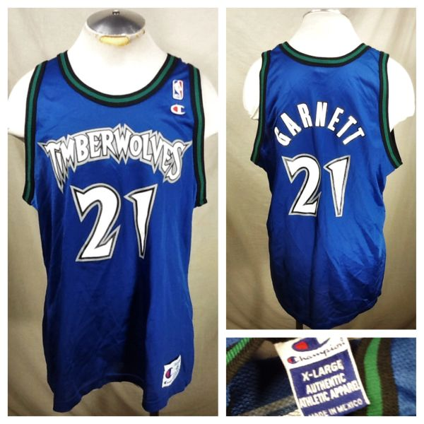 Vintage 90's Champion Minnesota Timberwolves Kevin Garnett #21 (XL) Retro Wolves NBA Basketball Jersey