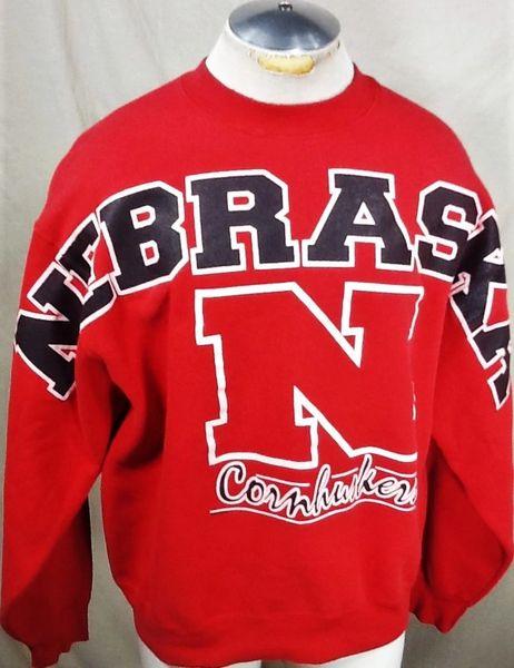 Vintage 90's University of Nebraska Cornhuskers (XL) Retro NCAA Graphic Crew Neck Red Sweatshirt