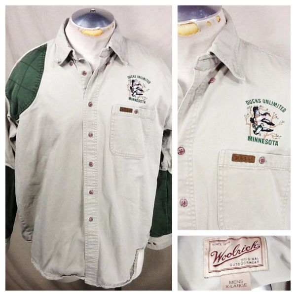 Vintage Woolrich Ducks Unlimited Minnesota (XL) Retro Outdoors Man Button Up Polo Shirt