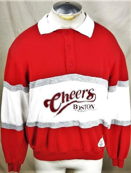 "Vintage 1987 Nutmeg ""Cheers Boston"" (Large) Retro Paramount Picture Long Sleeve Graphic Polo Sweatshirt"