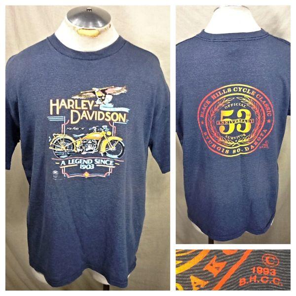 "Vintage 1993 Harley Davidson Motorcycles (XL) Retro Sturgis ""53rd Anniversary"" Graphic T-Shirt"