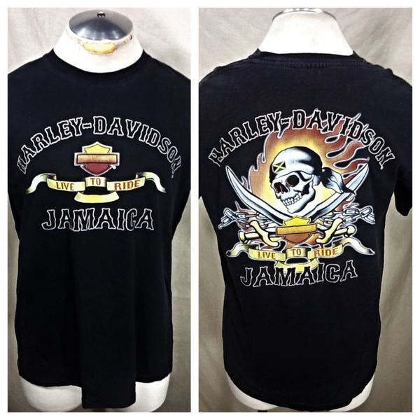 """Vintage Harley Davidson Motorcycles """"Live To Ride"""" (Large) Retro Graphic T-Shirt"""