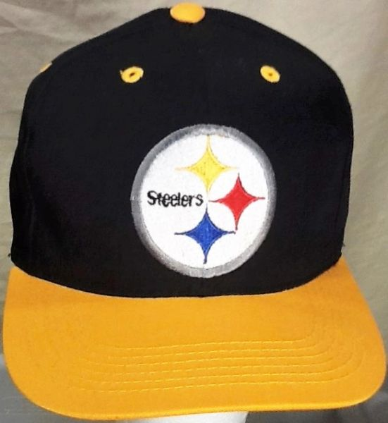Vintage 90's Pittsburgh Steelers Retro NFL Football Graphic Snap Back Hat Black