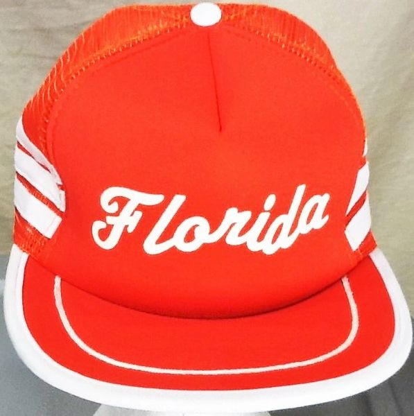 Vintage 80's Florida Tourism 3 Stripe Retro Graphic Snap Back Trucker Hat Orange