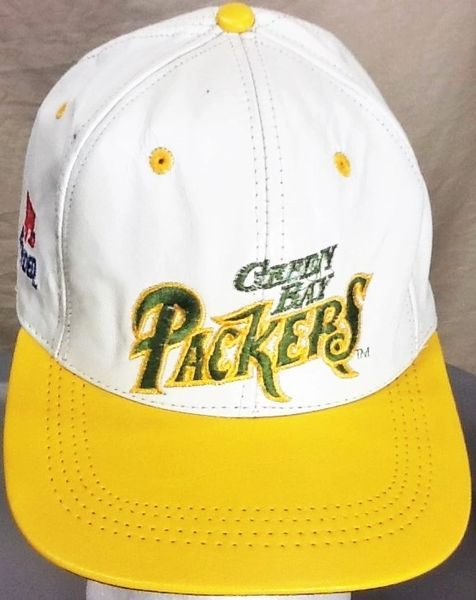 Vintage 80's Green Bay Packers Retro NFL Football Genuine Leather Snap Back Hat