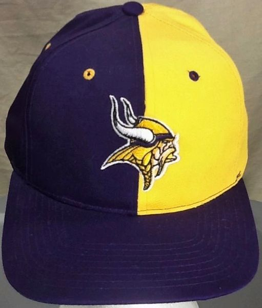 Vintage 90's Minnesota Vikings NFL Football Club Retro Two Tone Embroidered Snap Back Hat