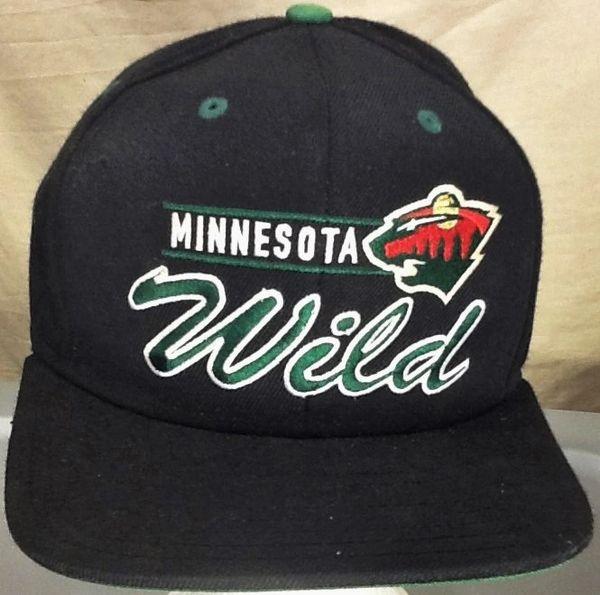 Retro Reebok Minnesota Wild NHL Hockey Club Embroidered Snap Back Hat Black