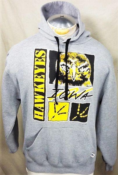 Vintage 90's Russell Iowa Hawkeyes (Med/Large) Retro NCAA Graphic Hooded Sweatshirt
