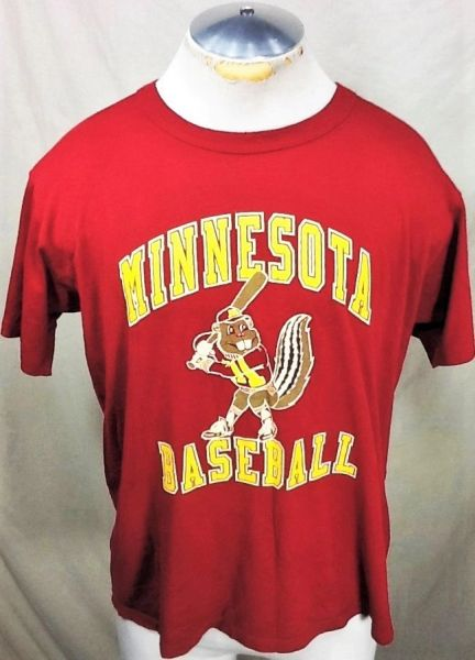 Vintage 80's Russell Minnesota Gophers Baseball (Med/Large) Retro NCAA Big Ten Conference Graphic T-Shirt