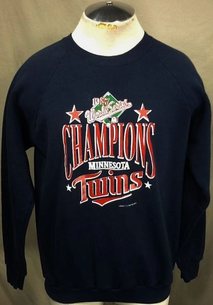 "Vintage 1987 Minnesota Twins ""World Series Champions"" (Large) Retro MLB Baseball Graphic Sweatshirt"