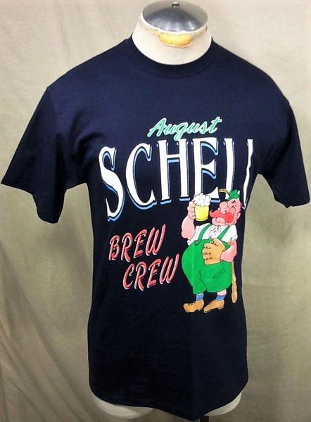 """Vintage 90's August Schell """"Brew Crew"""" (Med) Retro Breweriana Graphic Blue T-Shirt"""