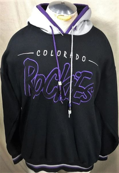 competitive price b6556 b2fca Vintage 90's Starter Colorado Rockies (Large) Double Hooded Retro Pullover  MLB Sweatshirt