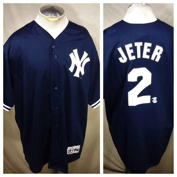 Vintage Majestic New York Yankees Derek Jeter #2 (XL/2XL) Retro MLB Baseball Classic Blue Jersey