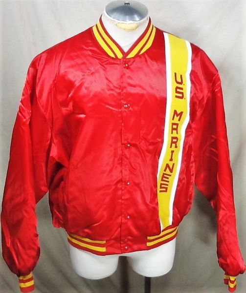Vintage United States Marines (XL) Retro Armed Forces Snap Up Satin Style Jacket