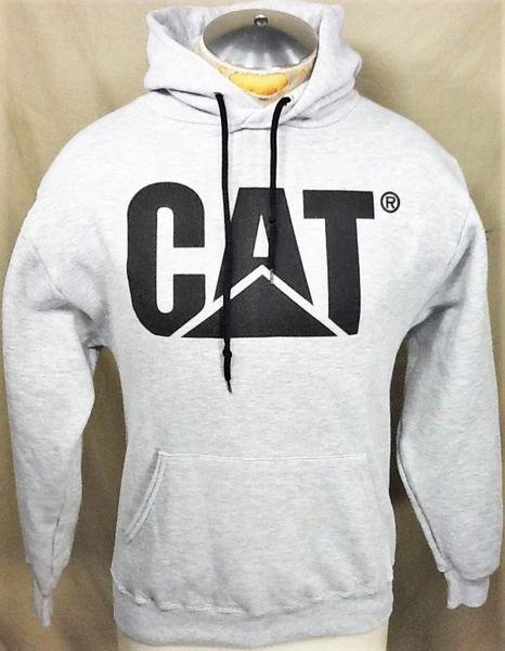 "Caterpillar ""Cat"" Heavy Equipment (Small) Retro Graphic Pullover Hooded Gray Sweatshirt"