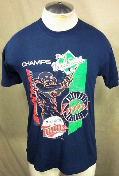 """Vintage 1991 Minnesota Twins Baseball Club (Med) Retro MLB """"American League Champions"""" Graphic T-Shirt"""