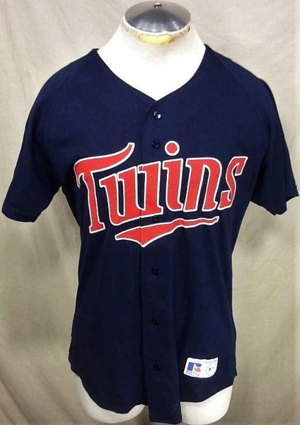 Vintage 90's Minnesota Twins Baseball (Med) Retro MLB Stitched Button Up Jersey T-Shirt