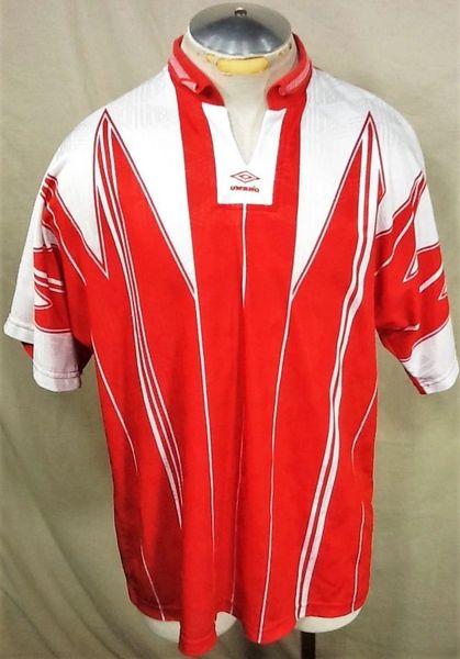 Vintage 90's Umbro Athletic Wear Soccer (XL) Retro Futbol Graphic Dri-Fit Red Jersey