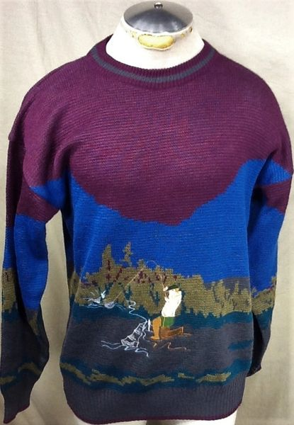 "Vintage 90's Fishing ""Ugly Sweater"" (Med) Retro Outdoorsman Graphic Knit Sweater"