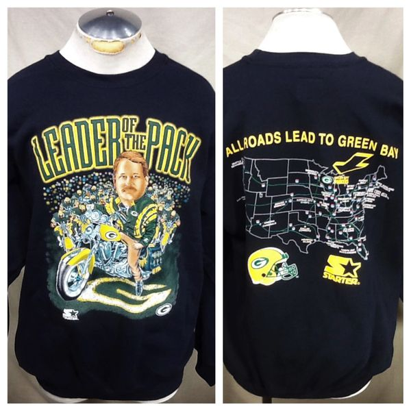 "Vintage 90's Starter Green Bay Packers Football (XL) Retro Mike Holmgren ""Leader of The Pack"" Sweatshirt"