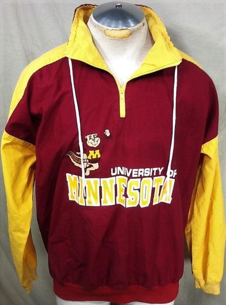 Vintage 90's University of Minnesota Gophers (Large) Retro NCAA 1/4 Zip Pullover Light Weight Sweatshirt