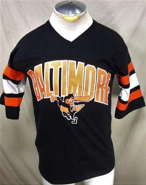 Vintage 90's Logo 7 Baltimore Orioles Baseball (Med) Retro MLB Classic Logo Graphic Black T-Shirt