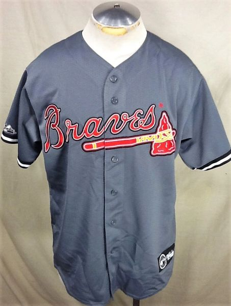 Retro Majestic Atlanta Braves Baseball (Large) Retro MLB Alternative Style Button Up Jersey