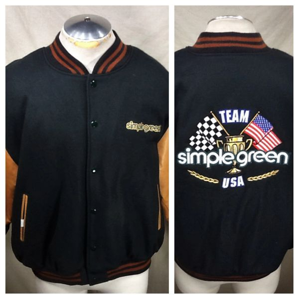 Team Simple Green USA (XL) Long Sleeve Button Up Letterman Style Jacket