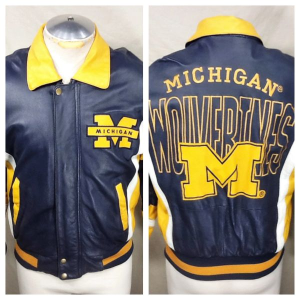 Vintage 90's Michigan University Wolverines (Small) Retro NCAA Full Zip Up Leather Jacket Blue
